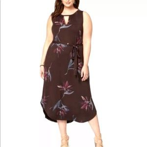 Lucky Brand 3X dress belted floral keyhole stretch